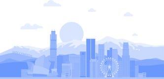 Fondo di vettore dell'orizzonte della citt? di Los Angeles Stati Uniti Illustrazione d'avanguardia piana illustrazione vettoriale