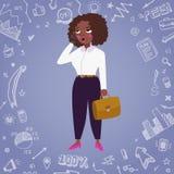 Fondo di vettore della donna di affari con i disegni di scarabocchio Illustrazione Vettoriale