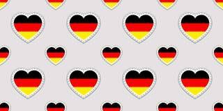 Fondo di vettore della Germania Modello senza cuciture della bandiera tedesca Stikers di vettore Simboli dei cuori di amore Buona illustrazione vettoriale