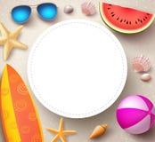 Fondo di vettore di estate con il cerchio bianco vuoto per testo illustrazione vettoriale