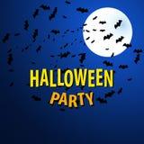 Fondo di vettore di Halloween con la luna ed i pipistrelli royalty illustrazione gratis