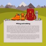 Fondo di vettore di trekking e di escursione Immagine Stock