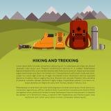 Fondo di vettore di trekking e di escursione Fotografia Stock Libera da Diritti