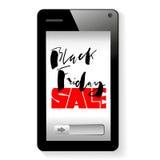 Fondo di vettore online di shoping Dispositivo mobile dello smartphone Iscrizione di Black Friday Immagini Stock Libere da Diritti