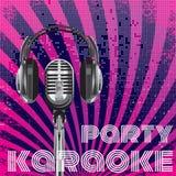 Fondo di vettore per il partito di karaoke Immagini Stock Libere da Diritti