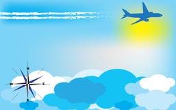 Fondo di viaggio con l'aeroplano Fotografie Stock Libere da Diritti