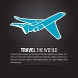Fondo di viaggio degli azzurri della mosca dell'aria dell'aeroplano Immagine Stock