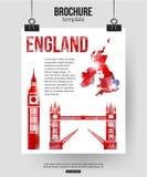 Fondo di viaggio dell'Inghilterra opuscolo Fotografia Stock