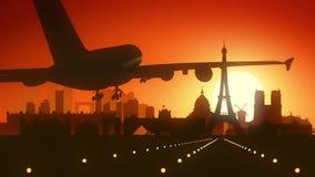 Fondo di viaggio della Francia dell'aeroplano di Parigi Eiffel Fotografie Stock