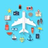 Fondo di viaggio di estate - icone Fotografia Stock