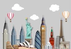 Fondo di viaggio grigio con le viste mondiali illustrazione di stock