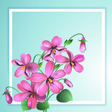 Fondo di Violet Floral della cartolina d'auguri nel telaio bianco Vettore Immagini Stock