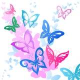Fondo di volata variopinta delle farfalle Fotografia Stock Libera da Diritti