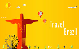 Fondo di voli e di viaggio per il turista, le feste e la vacanza, fondo di viaggio del Brasile illustrazione di stock