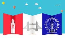 Fondo di voli e di viaggio per il turista, le feste e la vacanza, fondo di viaggio dell'america, Londra illustrazione di stock