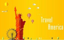 Fondo di voli e di viaggio per il turista, le feste e la vacanza, fondo di viaggio dell'america, Londra illustrazione vettoriale
