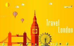 Fondo di voli e di viaggio per il turista, le feste e la vacanza, fondo di viaggio di Londra Fotografia Stock Libera da Diritti