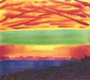 Fondo di Watwrcolor Tramonto calmo nebbioso sopra il mare royalty illustrazione gratis