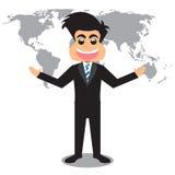 Fondo di And World Map dell'uomo d'affari del fumetto Immagine Stock