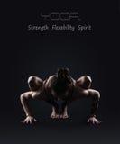 Fondo di yoga con la donna esile Fotografia Stock Libera da Diritti
