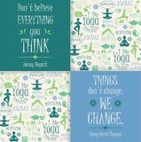 Fondo di yoga con le citazioni yogic Fotografia Stock Libera da Diritti
