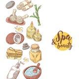 Fondo dibujado mano de la belleza de la salud del balneario Sistema de elementos de la salud del Aromatherapy Tratamiento de la p stock de ilustración