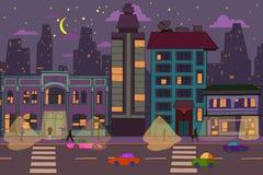 Fondo dibujado mano de la ciudad de la noche libre illustration