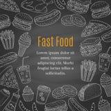 Fondo dibujado mano de la pizarra del vector de los alimentos de preparación rápida Foto de archivo libre de regalías