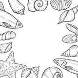 Fondo dibujado mano de los mariscos Fotografía de archivo
