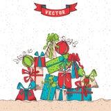 Fondo dibujado mano de los regalos stock de ilustración