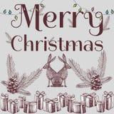 Fondo dibujado mano de Navidad del lema de la Feliz Navidad Imagen de archivo