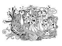 Fondo dibujado mano del animal doméstico del garabato Fotos de archivo