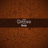 Fondo dibujado mano del café Fotografía de archivo libre de regalías