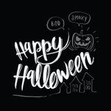 Fondo dibujado mano del diseño de mensaje del feliz Halloween, Imagen de archivo
