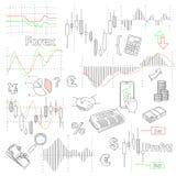 Fondo dibujado mano del vector del mercado de las divisas con Imágenes de archivo libres de regalías