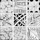 Fondo dibujado mano del zentangle para colorear el pag Stock de ilustración
