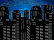 Fondo digital abstracto de la ciudad ilustración del vector
