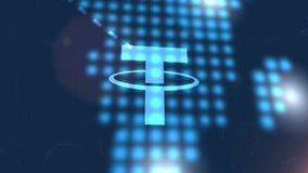 Fondo digital azul de la tecnología del mapa del mundo de la animación del icono del cryptocurrency de la correa stock de ilustración