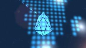 Fondo digital azul de la tecnología del mapa del mundo de la animación del icono del cryptocurrency del FOE libre illustration