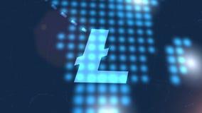 Fondo digital azul de la tecnología del mapa del mundo de la animación del icono del cryptocurrency de Litecoin stock de ilustración