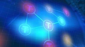 Fondo digital azul de la tecnología de los elementos de la animación del icono del cryptocurrency de la correa libre illustration