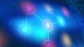 Fondo digital azul de la tecnología de los elementos de la animación del icono del cryptocurrency de Ethereum stock de ilustración