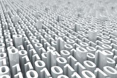Fondo digital blanco abstracto del código binario con stock de ilustración