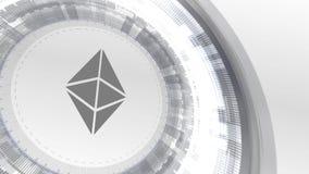 Fondo digital blanco de la tecnología de los elementos de la animación del cryptocurrencyicon de Ethereum stock de ilustración