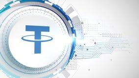 Fondo digital blanco de la tecnología de los elementos de la animación del icono del cryptocurrency de la correa ilustración del vector