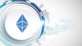 Fondo digital blanco de la tecnología de los elementos de la animación del icono del cryptocurrency de Ethereum libre illustration