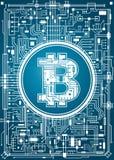 Fondo digital de la moneda de Bitcoin Fotos de archivo