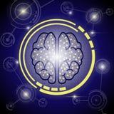 Fondo digital del cerebro Foto de archivo