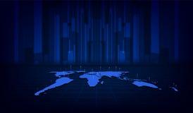 Fondo digital del concepto de la innovación de la tecnología del modelo de la textura del mapa del mundo abstracto libre illustration
