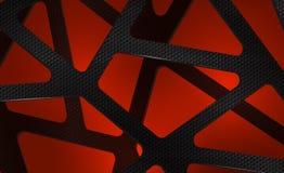 Fondo digitale astratto del carbonio su rosso Fotografia Stock Libera da Diritti